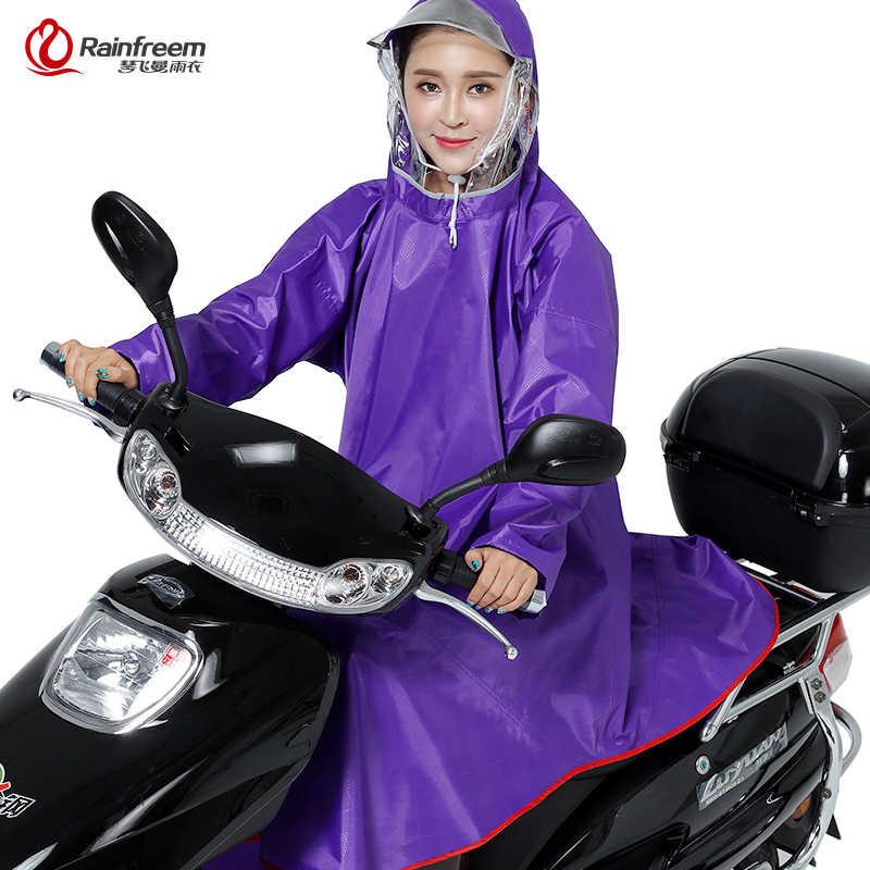 Rainfreem hombres/mujeres Impermeable Electromobile/bicicleta Poncho de lluvia chubasquero grueso doble capucha transparente equipo de lluvia capa de lluvia