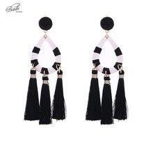Badu Black Tassel Earring Long Dangle Drop Pendant Women Vintage and White Oval Big Earrings Wholesale