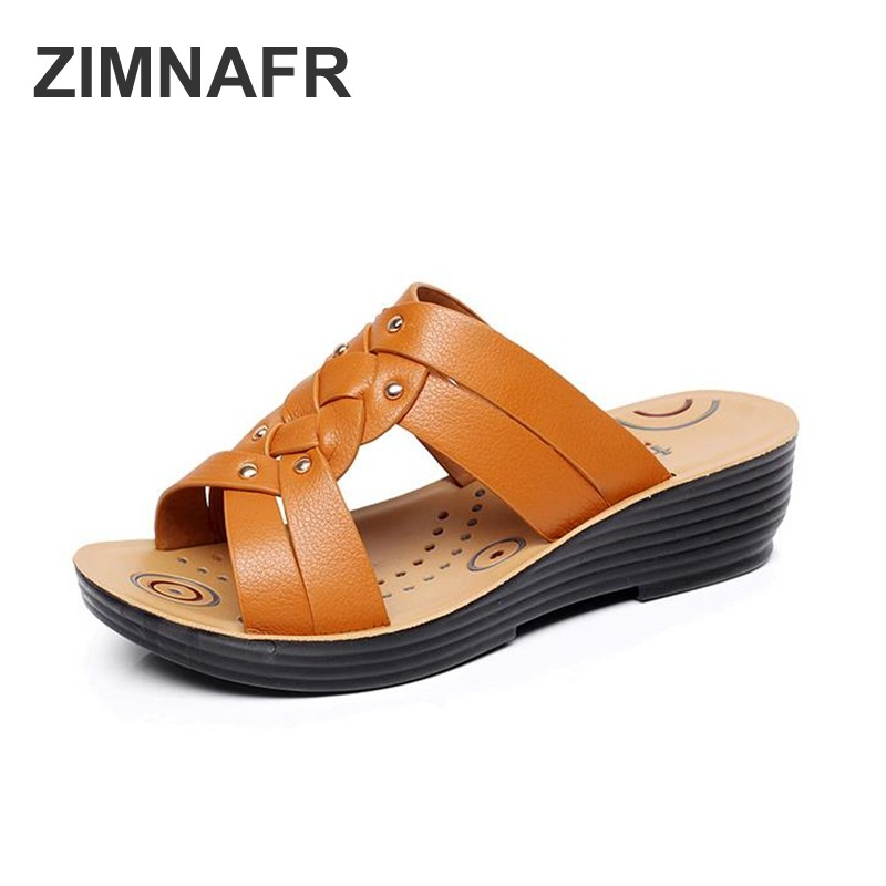 ZIMNAFR Mother's Slippers New Flat Middle-aged Women SANDALS Fashion Wear Soft-soled Skidless slippers Summer SHOES PLUS SIZE 41 aiyuqi 2018 new genuine leather women sandals summer flat middle aged mother sandals plus size 41 42 43 casual shoes female