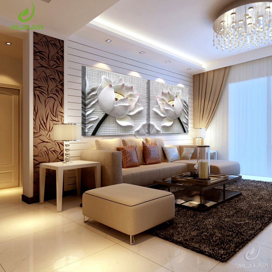 JHLJIAJUN Canvas Oil Paintings NO Frame 3D Art Print Wall Teh For Living Room Modern Painting Flowers Modular Pictures For Kitch