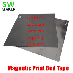2019 New Magnetic Print Bed Tape square 150/200/214/220/250mm Print Sticker FlexPlate PLA Prusa Wanhao Creality 3D Printer parts
