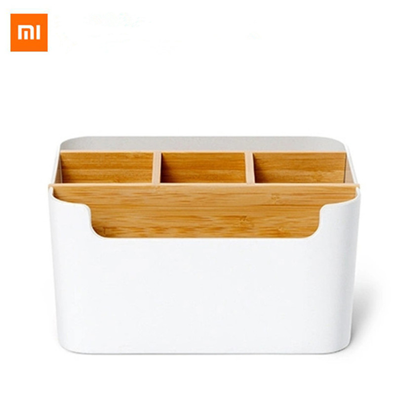 New Xiaomi Bamboo fiber desktop storage box Pen Stationery Makeup controller detachable clean Container For Office