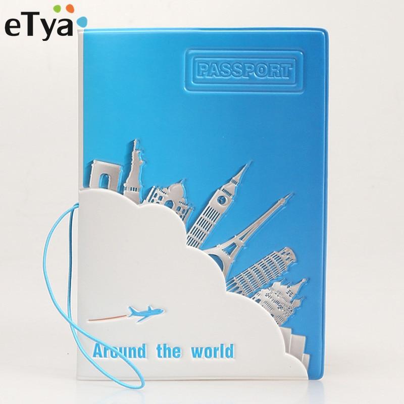 eTya Fashion Travel Passport Covers PVC Women Men Passport Holder Case Bag Case Student Kids Gift цены