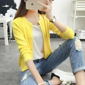Sweater cardigan spring and autumn, short coat Korean version, loose 2019 new pure color, long sleeved autumn sweater.