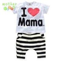 Retail 2015 Summer Children Clothing Sets Boys Girls I Love Papa And Mama Short Sleeve T