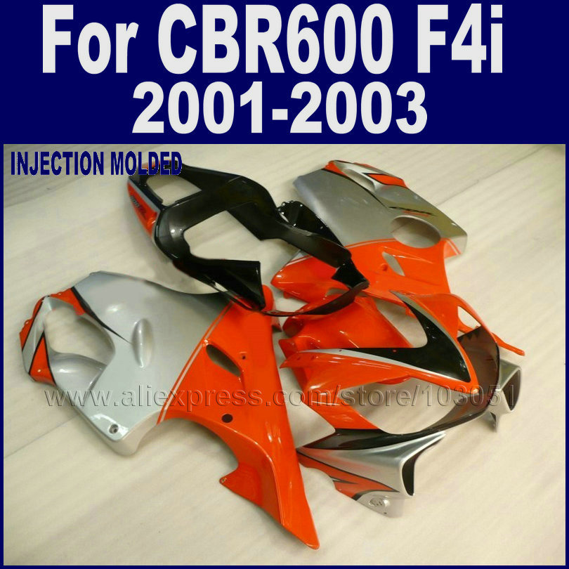 plastic Injection molding fairings kit for Honda 2001 2002 2003 CBR 600 F4i 01 02 03 cbr 600 f4i silver orange fairing set body