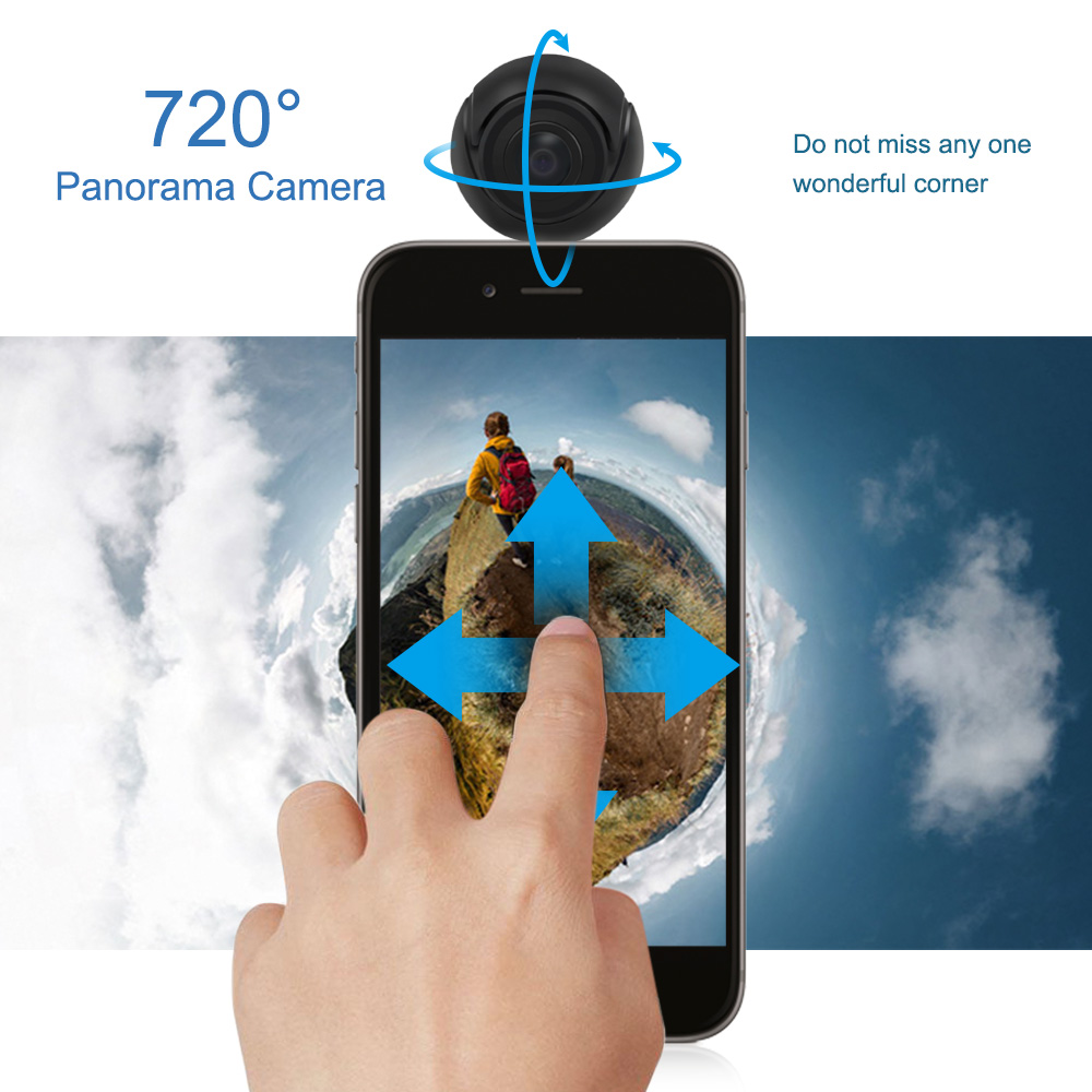 360 Degree Panoramic Camera HD Dual Fisheye Lens Wide Angle Mini 3D VR Camera Video Cam for Android Mobile Phone vr hd dual lens vr camera connected android mobile phone record 3d video vr get immersive experience