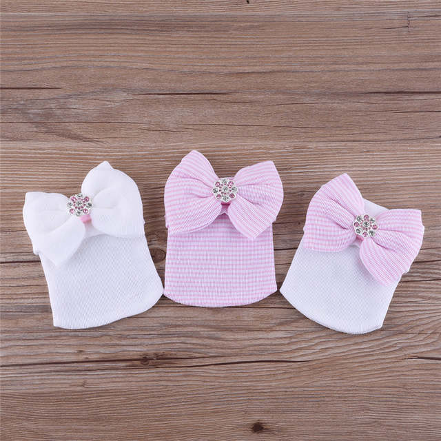 22e394c0a89c9 Beautiful Newborn Baby Infant Hospital Caps Cotton Stripped   Studded Bow  Beanies for Baby Girl 0