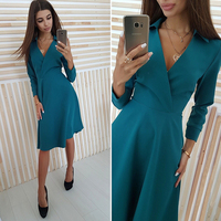 New 2018 Elegant Deep V-Neck Autumn Dress Women Solid Long Sleeve Slim A-Line Shirt Dress Party Dresses Female Vestidos