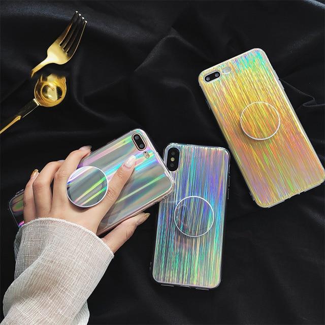 For iphone X 7 7Plus 6 6s 6Plus 6splus 8 8plus Bling laser <font><b>phone</b></font> case <font><b>Expanding</b></font> Stand holder design soft TPU case