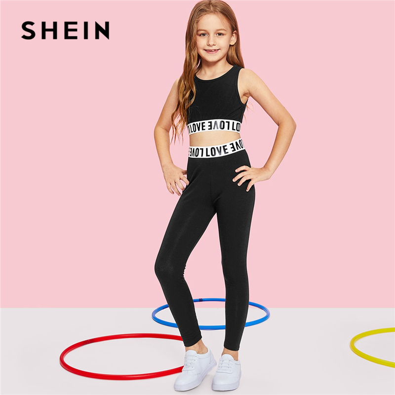 SHEIN Black Letter Print Crop Top And Pants Girls Clothing Two Piece Set 2019 Active Wear Fashion Sleeveless Children Clothes
