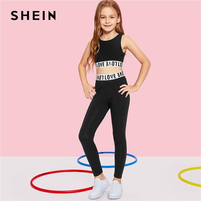 Шеин черный короткий, с буквенным принтом Топ и штаны Одежда для девочек комплект из двух предметов 2019 Active модная детская одежда без рукавов