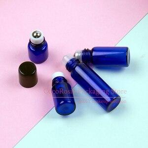Image 3 - (50 pezzi/lottp) 1ML 2ML 3ML 5ML Blu Piccolo Rullo sulla Bottiglia con In Acciaio Inox Mini rullo a pelo Essenziale di Vetro rullo di olio on bottiglia