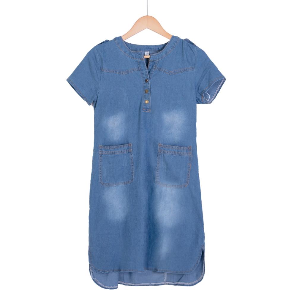 Új érkezés nyáron női farmer ruhák rövid ujjú laza egy vonalú ruhák plusz méretek V-nyak szilárd farmer ruha D74609J