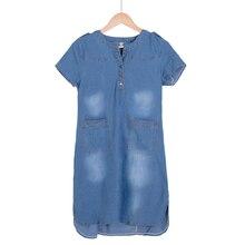 New Arrival Summer Women Denim Dresses Short Sleeves Loose A Line Dresses Plus Sizes V-neck Solid Jeans Dresses D74609J