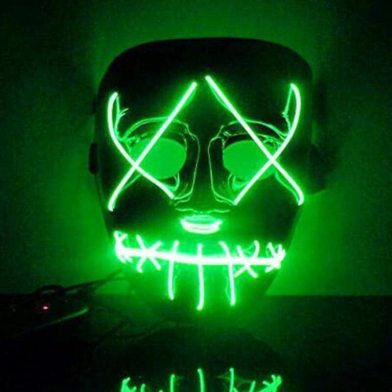 Halloween Led Luminoso Mascherina di Orrore Smorfia Sanguinante EL wire Halloween Carnaval Partito Club Bar DJ Incandescente Maschere a Pieno Facciale