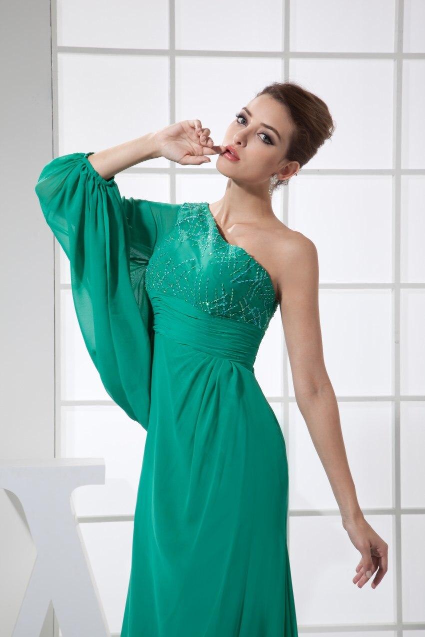 Сексуальное зеленое платье на одно плечо шифон длинный Выпускной 2019 Новое поступление халат de soiree вечерние платья - 3