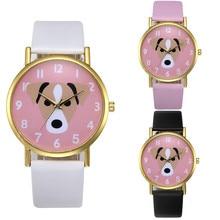 Dog Printed Casual Leather Quartz Wrist  Watch