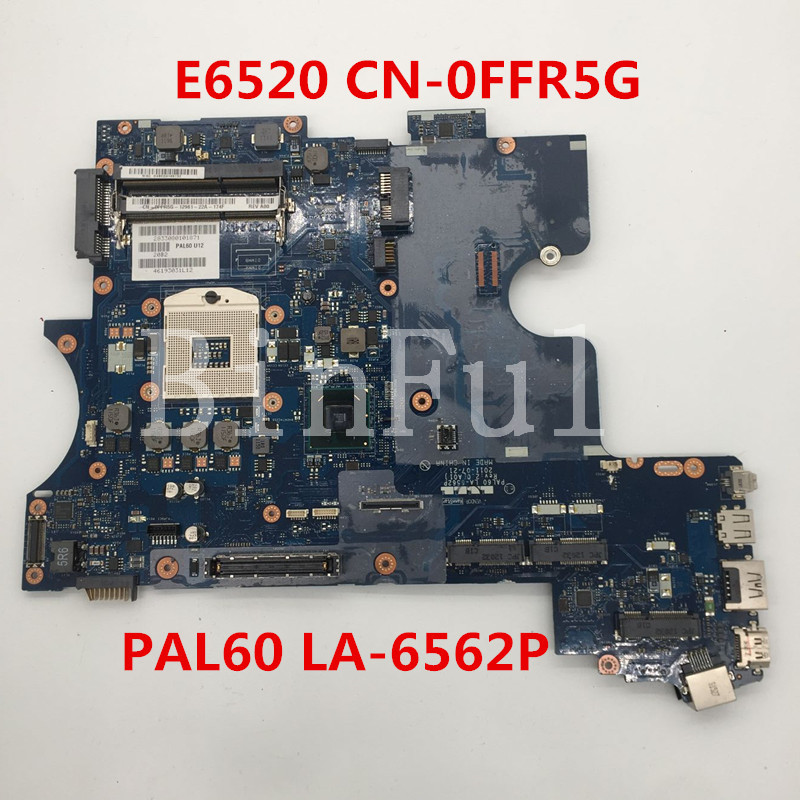 High quality For Latitude E6520 Laptop motherboard CN-0FFR5G 0FFR5G FFR5G PAL60 LA-6562P HM65 DDR3 100% full Tested