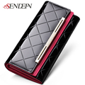 SENDEFN Patent Leather Lady Party Clutch Large Capacity Long Woman Wallets Designers Brand Purse Card Holder PT0590