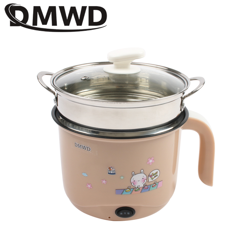 DMWD Multifunction Electric Skillet Stainless Steel Hotpot Noodle Rice Cooker Steamed Eggs Soup Pot Heating Pan Food Steamer EU