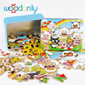 Toys for children Wooden Puzzles 80 pieces Child's Iron Box Jigsaw Puzzle Toddlers Educational Toys for Children kids toy