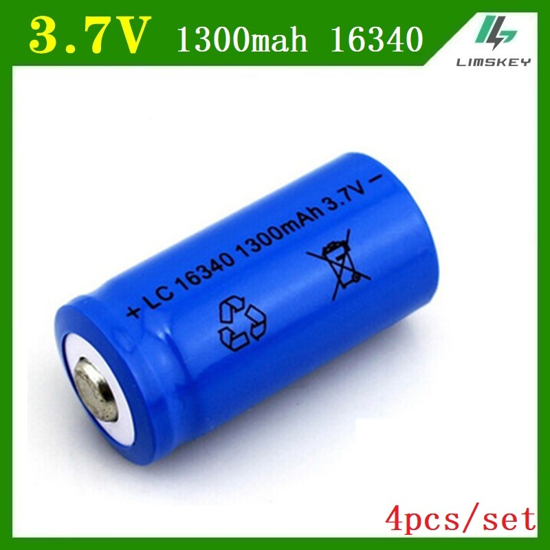 4pcs/set 16340 battery 3.7V 1300mAh Rechargeable Li-ion Battery for toy / Led Flashlight batery litio battery Wholesale