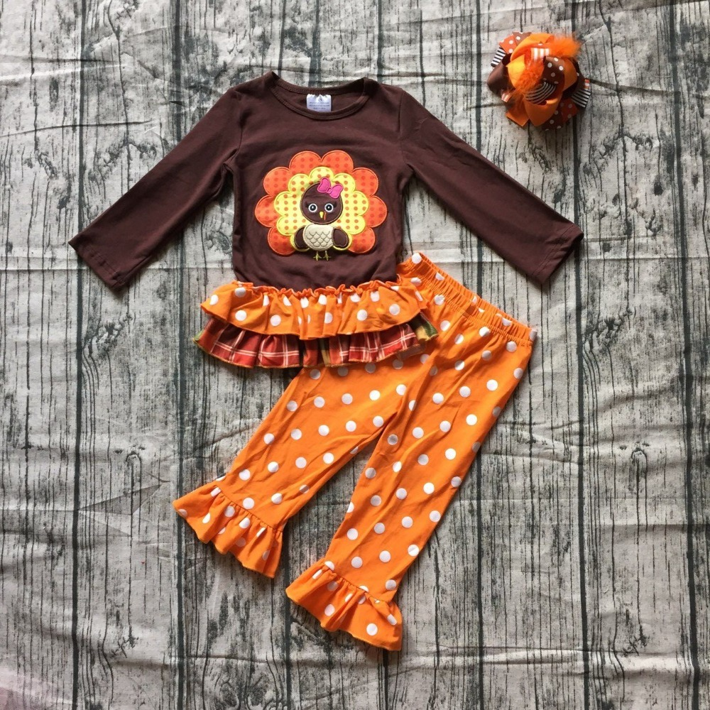 new autumn thanksgiving Fall/Winter baby girls brown orange turkey outfits polka dot pant clothes ruffle boutique match clip bow все цены