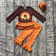 23354b59b9359 new autumn thanksgiving Fall/Winter baby girls brown orange turkey outfits  polka dot pant clothes ruffle boutique match clip bow