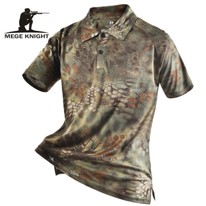 Mege العلامة التجارية ملابس الرجال قمصان التكتيكية التمويه قميص بولو الصيف ملابس كاجوال مع بقع تيفون متعددة حدبة سريع الجافة