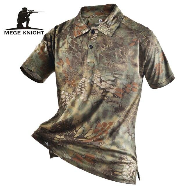 Mege מותג בגדי גברים של חולצות טקטי הסוואה פולו חולצה קיץ מזדמן בגדים עם תיקוני טיפון מרובה מהיר יבש