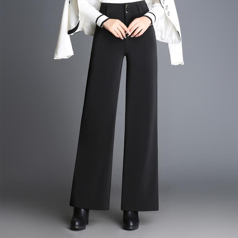 Negro Ssl0703 Las Rectos Moda Más Alta Ol Pierna Cintura Pantalones Casual Mujer Primavera Tamaño Otoño Ancha Para Nueva De Mujeres qnUHppBIvw