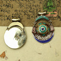 TBP157 Nepal Tibet Handmade Copper Inlaid colorful stone Turquoise Round Pendants Locket 65x45mm Wholesale Real Tibetan Jewelrys