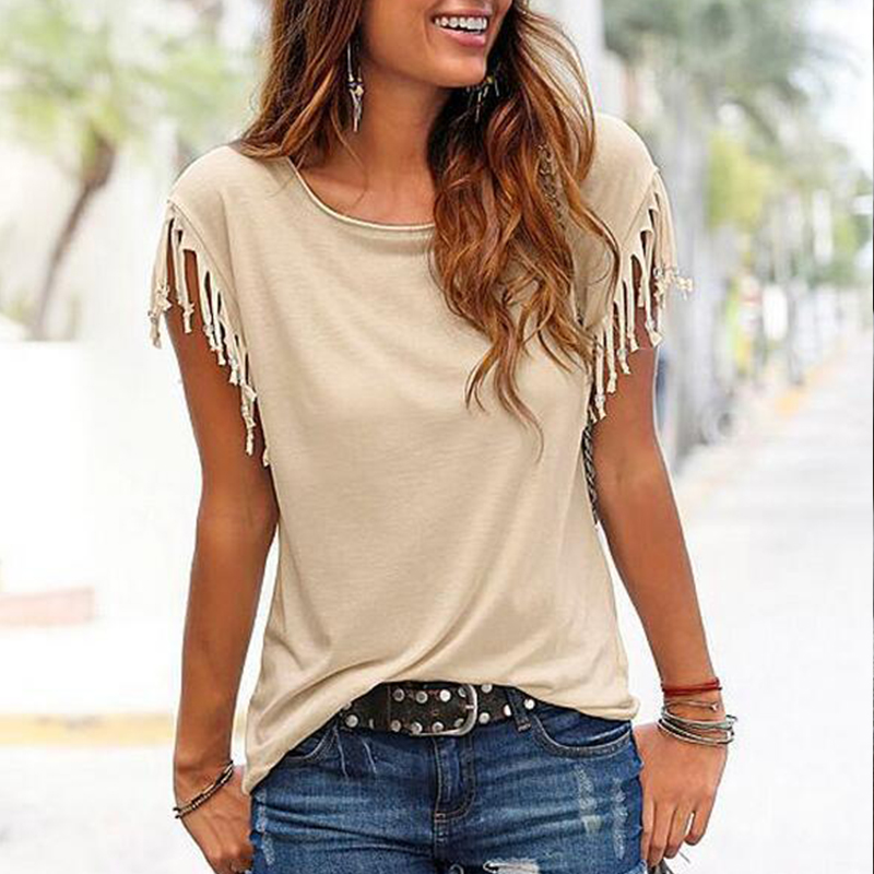 Fashion Women Cotton Tassel Casual T-shirt Plus Size Sleeveless Solid Color Tees Short Sleeve O-neck Womens Clothing t shirt