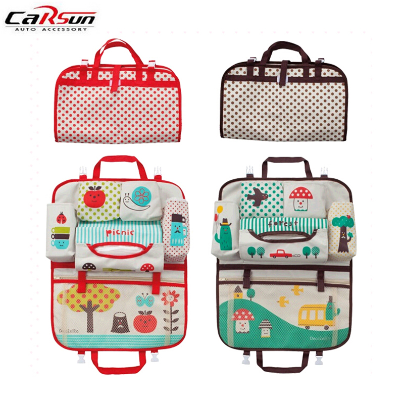 Car Seat Toy Holder : Foldable cartoon car seat back bag kids toy storage