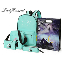 Brand 5 Pcs/set Women Backpacks Cute Cat School Bags For Teenage Girls Printing Canvas Backpacks Ladies Shoulder Bags Q3
