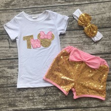 baby girls boutique clothing children outfits Two years old birthday clothes girls minnie clothes sequin shorts