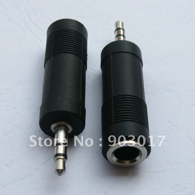 30 pcs per lot Converter Nickel Plated 3.5mm Stereo Plug to 6.35mm Stereo Jack with Plastic handle