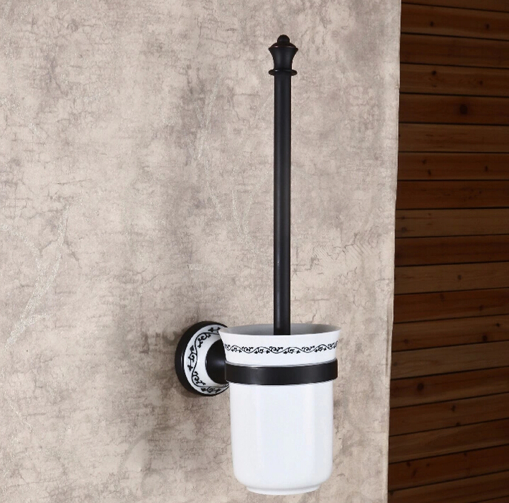 wall mounted toilet brush holder set oil rubbed bronze in toilet brush holders from home. Black Bedroom Furniture Sets. Home Design Ideas