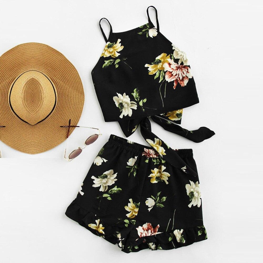 Casual Two Piece Set Ladies Lotus Leaf Print Summer Sleeveless Strapless Shorts 2018 Beachwear Women's Suit