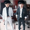 2016 Brand New meninos listrado terno Formal do casamento inglaterra estilo meninos Blazer terno crianças festa de noite smoking meninos desgaste Formal