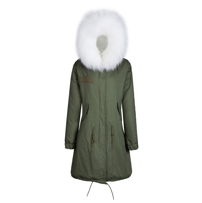 Long style parka winter jacket parka fur jacket white color