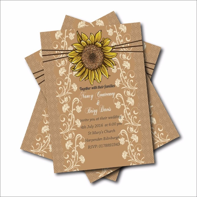 20 pcs rustic country sunflower wedding invitations lace bridal shower engagement invites barn wood wedding decor - Wood Wedding Invitations