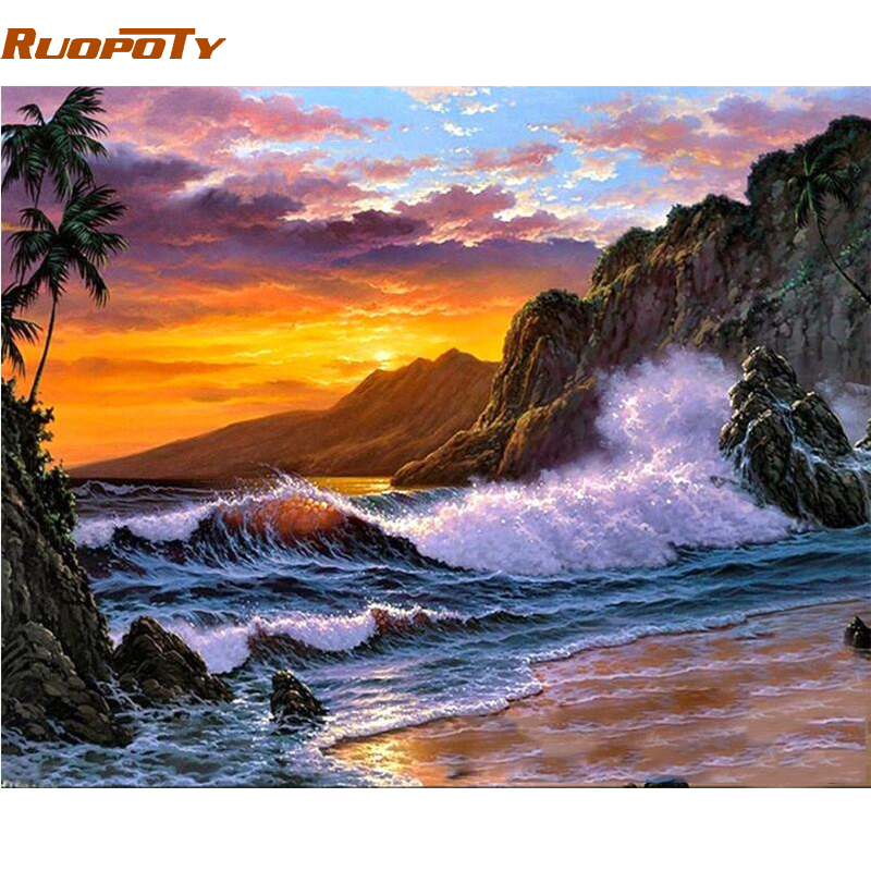 RUOPOTY Frame Seascape DIY Painting By Numbers Acrylic Paint On Canvas Modern Calligraphy Painting For Home Wall Art Picture Art