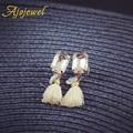 Ajojewel Black White Silk Tassel Earrings For Women Rectangle Crystal Earrings Gold Plated Fashion Female Jewelry Cute