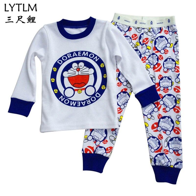 LYTLM Doraemon Costume T Shirts for Girls Children Pijamas Kids Boys Pyjamas Pajamas For Boys Sleepwear Suit Baby Pajamas Set