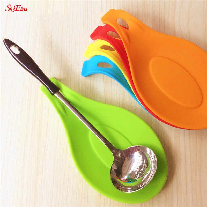 Silicone Spoon Insulation Mat Silicone Heat Resistant Placemat Tray Spoon Pad Drink Glass Coaster hot sale Kitchen Tool 1 pc 5Z