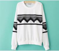 2015 женщины толстовки кофты весна осень свободного покроя о-образным вырезом пуловер с длинным рукавом белый