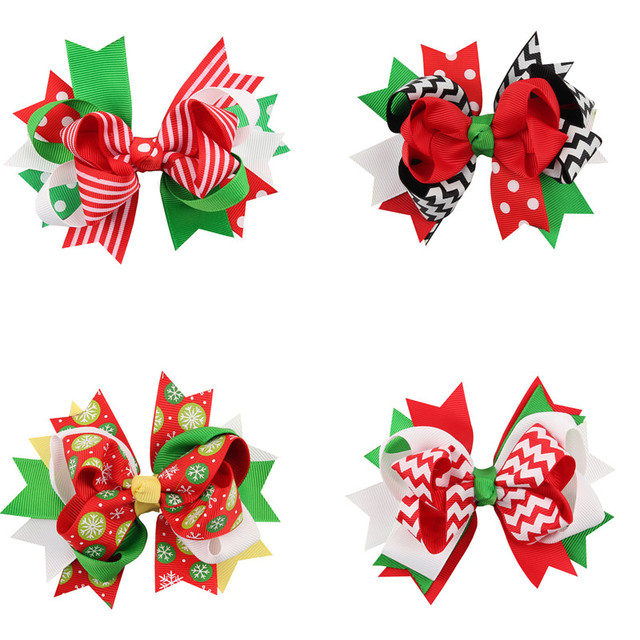 Christmas Hair Clips.Us 0 99 30 Off Christmas Hair Clips Bebes Hair Accessories Baby Girls Christmas Headband Chevron Bowknot Hair Bows D1040 In Hair Accessories From