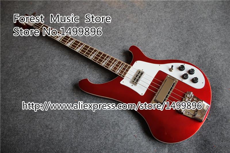 Custom Shop Ruby Red R4003 Electric Bass Guitar Neck Through Rick Bass Guitar Body & Kit Left Handed Available limited edition custom shop 5 strings dragonfly electric bass guitar maple neck through bamboo inlay china oem factory